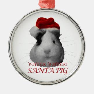 Santa Claus Pig Guinea Pig Christmas Holidays Round Metal Christmas Ornament