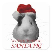 Santa Claus Pig Guinea Pig Christmas Holidays Square Sticker