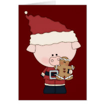Santa Claus Piggy Christmas Card