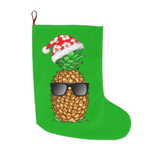 Santa Claus Pineapple Large Christmas Stocking
