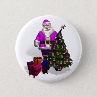 Santa Claus Pink Ribbons Button