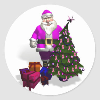 Santa Claus Pink Ribbons Classic Round Sticker