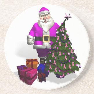 Santa Claus Pink Ribbons Drink Coaster
