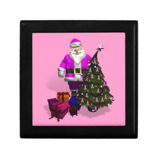 Santa Claus Pink Ribbons Gift Box