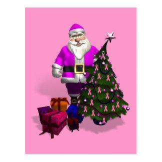 Santa Claus Pink Ribbons Post Cards