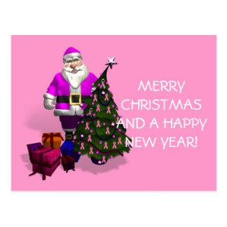 Santa Claus Pink Ribbons Postcard