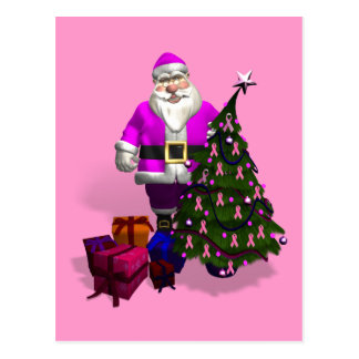 Santa Claus Pink Ribbons Post Cards
