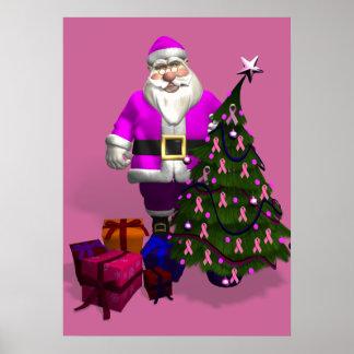 Santa Claus Pink Ribbons Poster