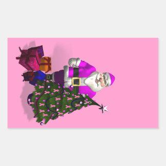 Santa Claus Pink Ribbons Rectangular Sticker