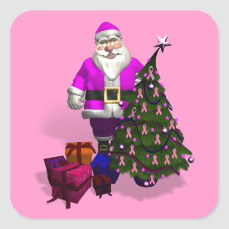 Santa Claus Pink Ribbons Square Sticker