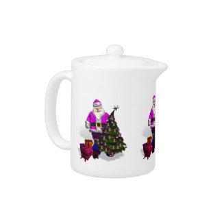 Santa Claus Pink Ribbons Teapot