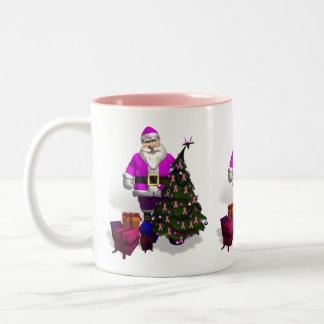Santa Claus Pink Ribbons Two-Tone Coffee Mug