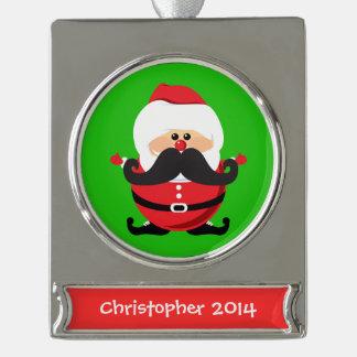 Santa Claus Silver Plated Banner Ornament