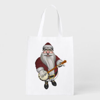 Santa Claus Playing Banjo Grocery Bag