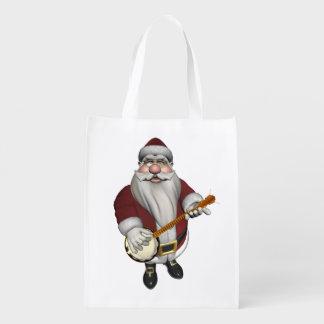 Santa Claus Playing Banjo Reusable Grocery Bags