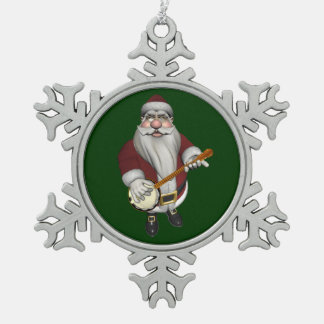 Santa Claus Playing Banjo Snowflake Pewter Christmas Ornament