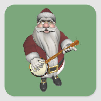 Santa Claus Playing Banjo Square Sticker
