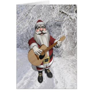 Santa Claus Playing Christmas Songs On His Guitar Card