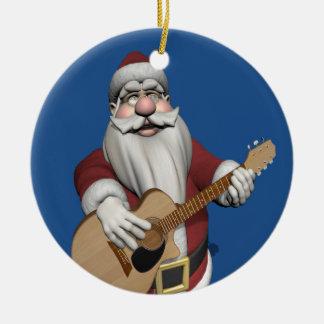 Santa Claus Playing Christmas Songs On His Guitar Ceramic Ornament