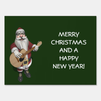 Santa Claus Playing Christmas Songs On His Guitar Lawn Sign