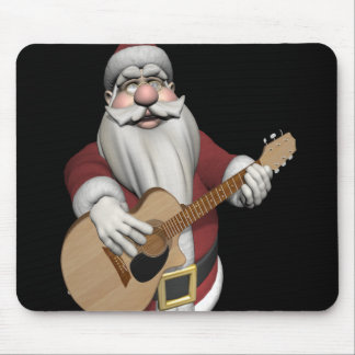 Santa Claus Playing Christmas Songs On His Guitar Mouse Pad
