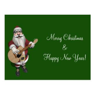 Santa Claus Playing Christmas Songs On His Guitar Postcard