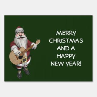 Santa Claus Playing Christmas Songs On His Guitar Yard Signs