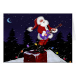 Santa Claus Playing Electric Guitar Stationery Note Card