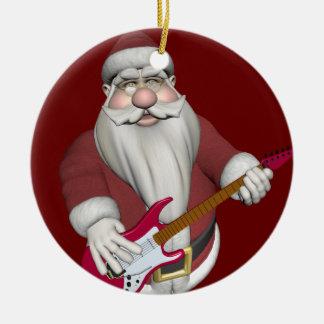 Santa Claus Playing Electric Guitar Ceramic Ornament