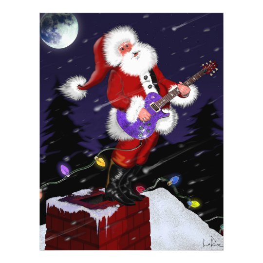 Santa Claus Playing Electric Guitar Flyer