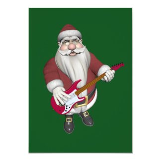 Santa Claus Playing Electric Guitar 5x7 Paper Invitation Card