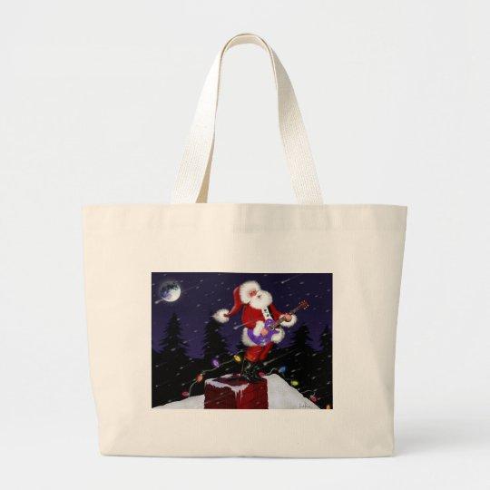 Santa Claus Playing Electric Guitar Large Tote Bag