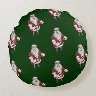 Santa Claus Playing Electric Guitar Round Pillow