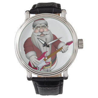 Santa Claus Playing Electric Guitar Wristwatches