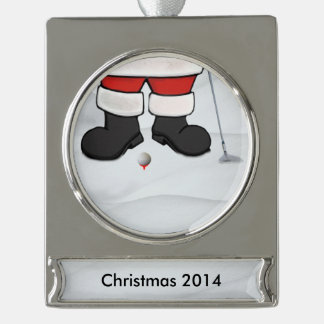 Santa Claus Playing Golf in the Snow, Customizable Silver Plated Banner Ornament