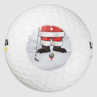 Santa Claus Playing Golf in the Snow Golf Balls
