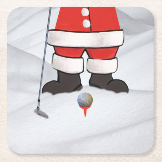 Santa Claus Playing Golf in the Snow Square Paper Coaster