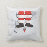 Santa Claus Playing Golf in the Snow Throw Pillow