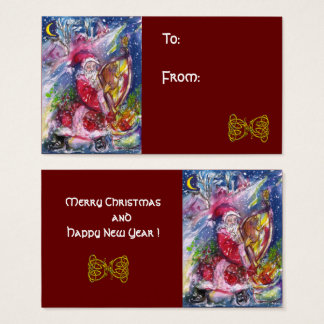 SANTA CLAUS PLAYING HARP Celtic Knots Christmas Business Card