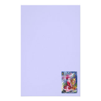 SANTA CLAUS PLAYING HARP Christmas Night Blue Stationery