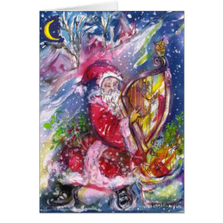 SANTA CLAUS PLAYING HARP Christmas Night Music Card