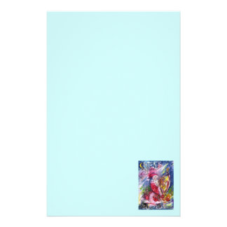 SANTA CLAUS PLAYING HARP Christmas Night Teal Blue Stationery