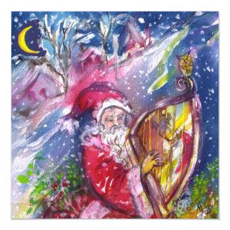 SANTA CLAUS PLAYING HARP - CHRISTMAS PARTY CARD