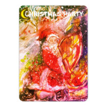SANTA CLAUS PLAYING HARP CHRISTMAS PARTY INVITE