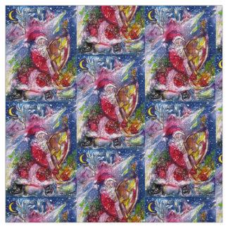SANTA CLAUS PLAYING HARP IN MOON LIGHT Christmas Fabric