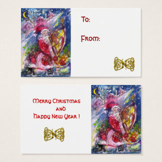 SANTA CLAUS PLAYING HARP IN MOONLIGHT Christmas Business Card