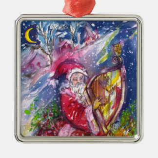 SANTA CLAUS PLAYING HARP IN MOONLIGHT Christmas Metal Ornament