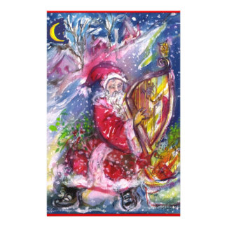 SANTA CLAUS PLAYING HARP IN MOONLIGHT Christmas Stationery