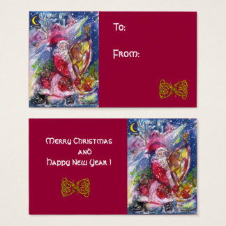 SANTA CLAUS PLAYING HARP IN MOONLIGHT Red Blue Business Card