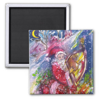SANTA CLAUS PLAYING HARP IN THE MOONLIGHT 2 INCH SQUARE MAGNET